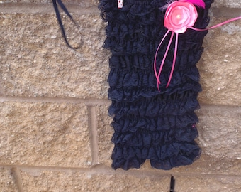 Baby Girl Black Girl's Strapless Lace Romper with Pink Flower Headband