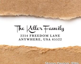 Wood Handle Rubber Stamp - Address Stamp, Gifts for Wedding, Housewarming, Etsy Labels, Return Address Stamp, Christmas Card - Design 0086