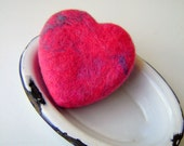 Handmade Wet Felted Soap / Heart Shaped Soap / Mothers Day Soap Gift