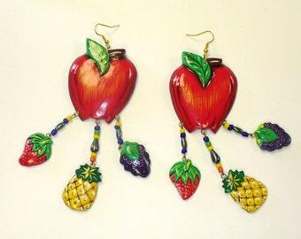 Vintage Giant Fruit Earrings DEADSTOCK