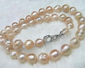 Light  Pink and Platinum Color Iridescent Chinese Kasumi Style Pearl Necklace