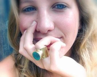 Teal Ceramic Ring Handmade Brass Adjustable Ring