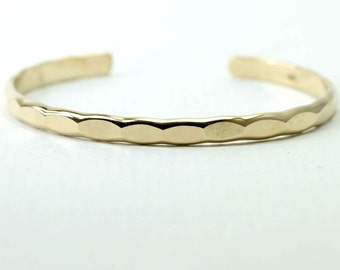 Wide Ophelia cuff, yellow gold fill handmade custom stacking cuff with free US shipping