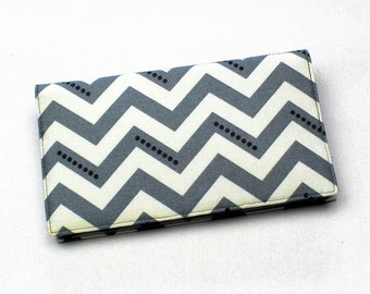 Fabric Checkbook Cover, Duplicate Checks, Pen Holder, Gray and White Chevrons Fabric