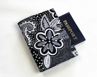 Black and White Fabric Passport Cover with Velcro Closure Flowers and Paisley designs, Travel Wallet, Passport Holder - LAST ONE!
