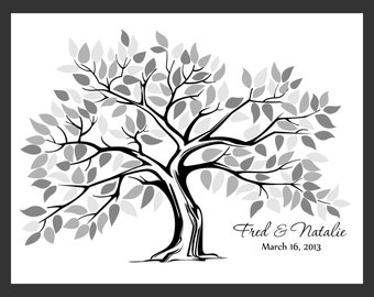 Personalized Wedding Tree Guest Book Print for up to 150 guests