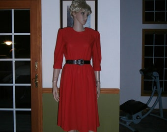 60s Tabby Pin Up Bombshell Fire Engine RED  Dress with Belt