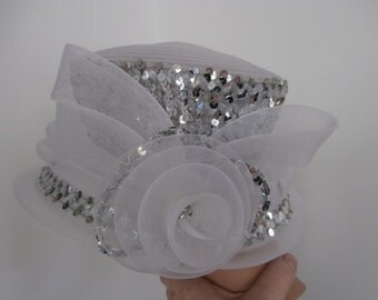 Womens White Sequins Hat  Formal   70's Mr Hi's Classic