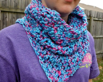 Cotton Candy Split Cowl Crocheted Neckwrap