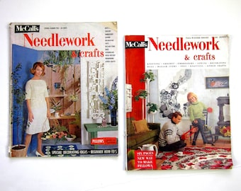 REDUCED McCalls Set of 2 Needlework and Crafts Magazines 1963 1964 / Kitsch Ads, Mod Home Decor