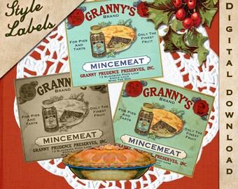 Vintage Christmas Thanksgiving Tag Label Printable Mincemeat Prim Digital Download Collage Sheet Graphics Cards Scrapbook