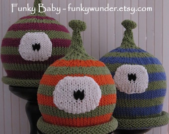 Monster hat KNITTING PATTERN in sizes infant through adult