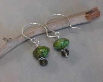 Green Stone Earrings, Smoky Quartz Earrings, Green Dangle Earrings, Green Brown Earrings, Artisan Dangle Earrings,lle537