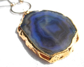 Navy blue agate necklace - agate necklace - blue necklace - purple agate - gold necklace - D R U Z Y 148