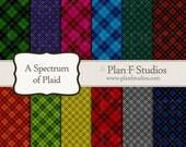 "Colorful Plaid Spectrum Digital Paper Set - 12"" x 12"" JPG Images - Instant Download"