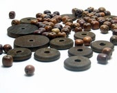 Wood Round Beads Assorted Supply Beads Up cycled Reused