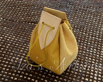 Yellow Medieval Leather Pouch