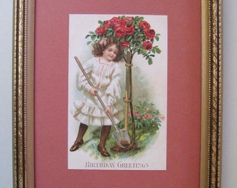 Cottage Home Decor Rose Topiary Postcard Cottage Chic 1910 Birthday Card