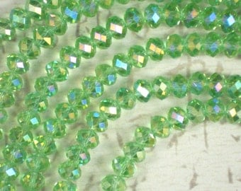 70 Grass Green AB Crystal Beads 8mm x 6mm Faceted Spacer Rondelles (C393)