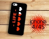 RPG Life heart meter Video Gamer Game Heart Meter |Hard Case For iPhone 4 and iPhone 4S Life Meter  Rubber Trim
