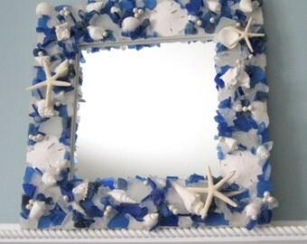 Sea Glass Mirror, Beach Decor Beach Glass Mirror, Nautical Decor Seashell Mirror, Shell Wall Mirror, Coastal Decor, Beach Home Decor, #SGM18
