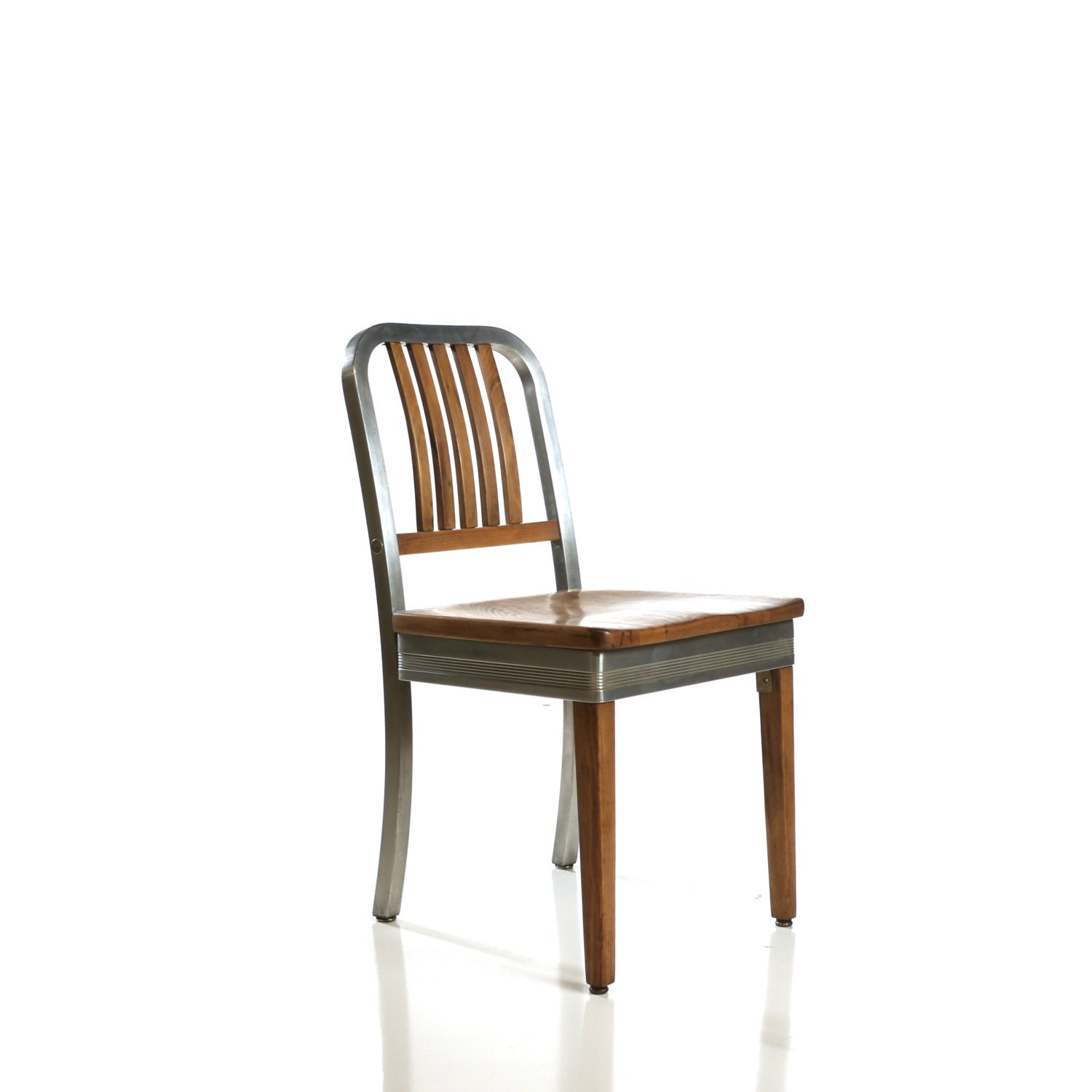 vintage shaw walker wood and aluminum side chair