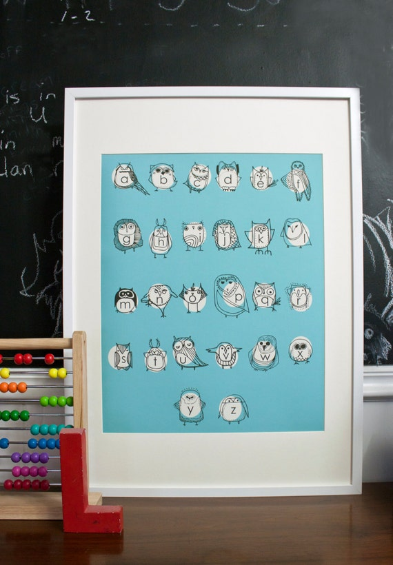 Large Owlphabet Poster, Alphabet Art, Owl Art, Education Tools, Nursery Art