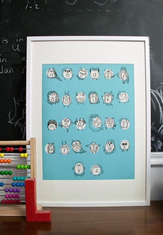 Large Owlphabet Poster, Alphabet Art, Owl Art, Education Tools, Nursery Art