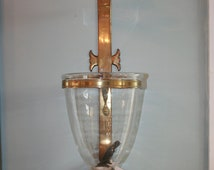 Pair of English Antique Brass Bell Jar Candle Wall Lanterns