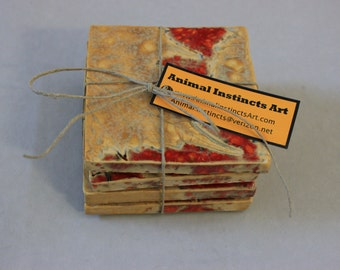 Firecracker Red and Gold Leaf Ceramic Coaster set of four Item 1187