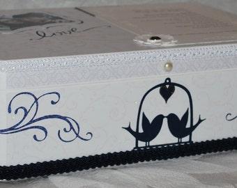 Wedding Keepsake Box . Personalized Keepsake Box . Navy and White