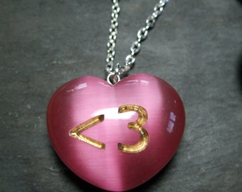 Less than 3 Emoticon Hot Pink Heart Geek Necklace