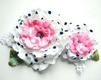 white black pink, polka dots flowers, satin roses, brooch, white bridal hair clip, flowers for sash, weddings accessories bride, bridesmaids