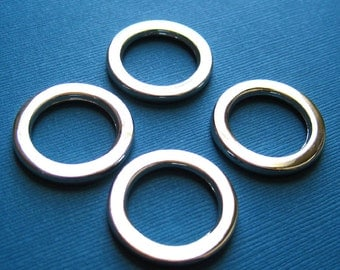 Large Flat Round D Rings 1 Inch Nickel  Set of 4