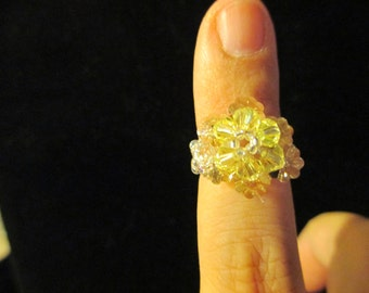Ring - Swarovski Crystal -yellow over champagne, size 4-4.5