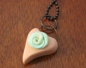 Chunky Pretty Peach Heart with Mint Green Rose Polymer Clay Pendant
