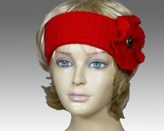 Tammie, 100% pure Cashmere Headband, Red hat