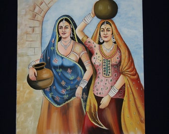 Indian Girls Watercolor Painting.