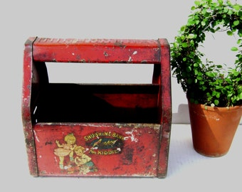 Vintage Toy Rusty Valentine Red Metal ShuShine Shoe Shine Box / Bank, Carry, Amsco, Carrier for Tools and Treasures, Plant Holder, Carry all