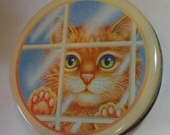 Yellow Striped Cat Tin Can. ES B Steeltin