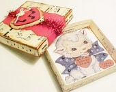 Handcrafted Valentine Game Box, Vintage Image