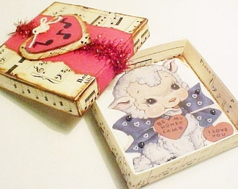 Handcrafted Valentine Game Box Using A Vintage Image