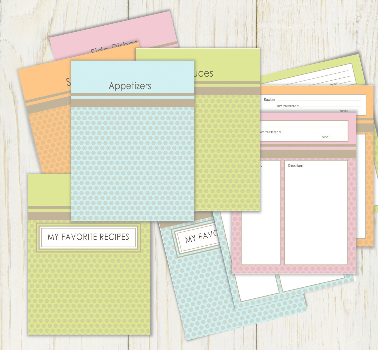 Dots Recipe Dividers And Cards For Notebook Binder Printable