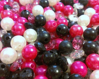 Lot of Hot Pink, Black, and White Plastic Beads