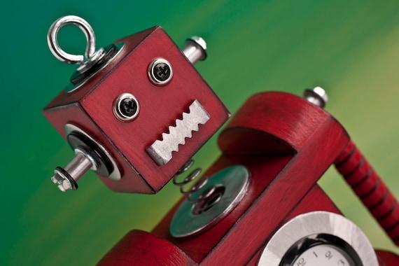 Robot Bobblehead Clock Red