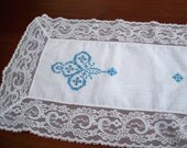 Vintage Table  Linens Hand Stitched Blue Table Runner