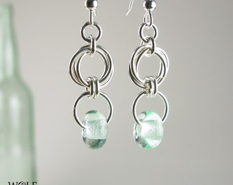 Sterling Silver Recycled Glass Bead Floret Drop Chandelier Earrings Eco Friendly