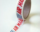 Washi Tape - 15mm - AirMail Red White Blue Text Design - Deco Paper Tape No. 591