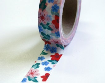 Washi Tape - 15mm - Small Vintage Red Blue Floral - Deco Paper Tape No. 596