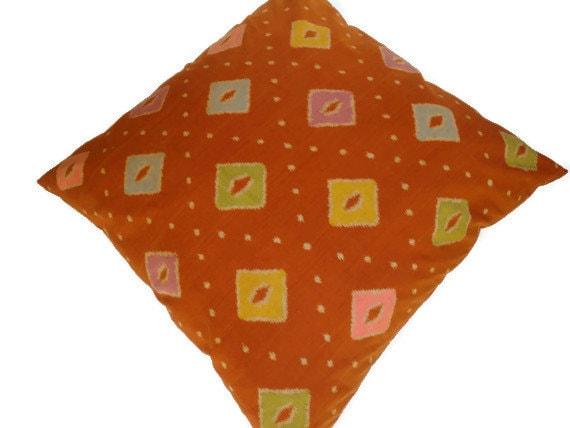 Ikat Floor Pillow 30x30 76cmx76cm Orange